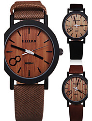 cheap -Men's Wrist Watch PU Band Vintage / Wood Black / Brown / Grey