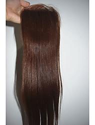 Недорогие -PANSY Прямой Полностью ленточные 100% ручная работа Швейцарское кружево Натуральные волосы Бесплатный Часть Средняя часть