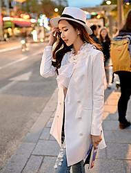 baratos -Mulheres Blazer Primavera,Sólido Azul / Branco Poliéster / Elastano Decote em V Profundo Manga Longa Média