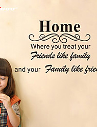 cheap -Home Where You Treat Your Friends Like Family Quote Wall Stickers Home Decor Decals