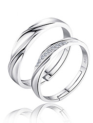 cheap -Men's Women's Couple Rings Band Rings Love Bridal Sterling Silver Zircon Circle Jewelry For Wedding Party Gift Daily Valentine