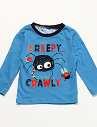 cheap -Tee, Cotton All Seasons Long Sleeves Cartoon Blue