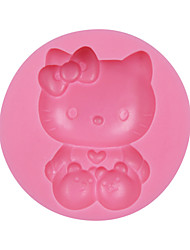 cheap -Cute Cat with Bow Silicone Fondant Baking Cake Chocolate Mold Decorating Tools Sugarcraft Mould Cat SM-039