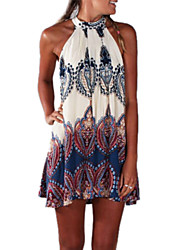 cheap -Women's Beach Boho A Line Dress Print Mini Halter