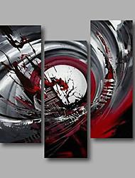 Pintados à mão Abstrato / Retratos AbstratosModerno 3 Painéis Tela Pintura a Óleo For Decoração para casa
