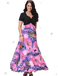 SWEET кривой женщин пляж плюс размер одежды, печать / лоскутное v шеи миди короткий рукав розовый спандекс / другие летом