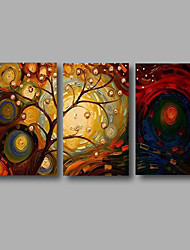 "cheap -Ready to Hang Stretched Hand-Painted Oil Painting 48""x28"" Three Panels Canvas Wall Art Modern Life Trees"