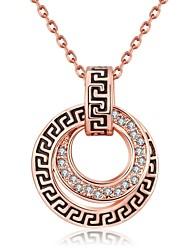 Colares com Pendentes Colares em Corrente Zircônia cúbica Fio Único Forma Redonda Forma Geométrica Zircão Rosa Folheado a Ouro Liga