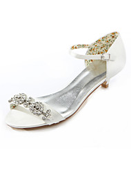 cheap -Women's Shoes Silk Summer Low Heel Crystal Ivory / Wedding / Party & Evening / Dress / Party & Evening