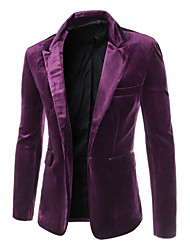 cheap -Men's Blazer-Solid Colored Peaked Lapel / Long Sleeve / Work
