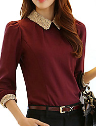 cheap -Women's Blouse - Solid Colored Shirt Collar / Spring / Fall
