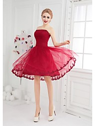 Ball Gown Bateau Neck Short / Mini Tulle Cocktail Party Dress with Appliques