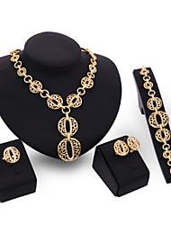 cheap -Jewelry Set - 18K Gold Plated, Cubic Zirconia Flower Statement, Vintage, Party Include Gold For Party Special Occasion Anniversary / Earrings / Necklace