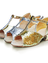 Women's / Kids' Dance Shoes Latin Satin / Flocking / Synthetic Low Heel Yellow / White / Silver / Gold