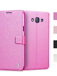 billiga -fodral Till Samsung Galaxy Samsung Galaxy-fodral Korthållare / med stativ / Lucka Fodral Enfärgad PU läder för J7 / J5 / Grand Prime