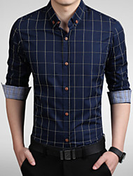cheap -Men's Daily / Work Plus Size Cotton / Polyester Slim Shirt - Plaid