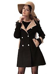 Cappotto Da donna InvernoTinta unita Lana / Altro Manica lunga Medio spessore