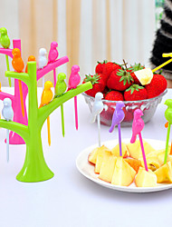 6PCS Bird Shape Fruit Forks Home Decorations Random Color