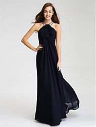 cheap -Sheath / Column Halter Floor Length Chiffon Bridesmaid Dress with Beading Crystal Detailing Ruffles by LAN TING BRIDE®