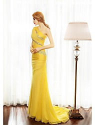 Sheath / Column One Shoulder Sweep / Brush Train Chiffon Formal Evening Dress with Beading Side Draping by SGSD