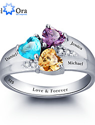 cheap -Noble Personalized Colorful Heart Stone Promise Ring 925 Sterling Silver Cubic Zirconia Ring For Women