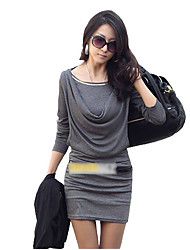cheap -Women's Solid White/Black/Grey Dress,Bodycon Cowl Long Sleeve Gathered