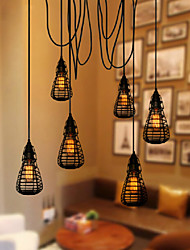 12*29CM American Industrial Creative Restoring Ancient Ways, Wrought Iron Cage, Single Head Droplight Lamp LED
