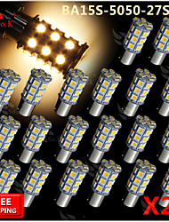 20x Warm White Ba15s 1156 RV Reverse 27 LED SMD Car Rear Turn Light Signal Bulbs