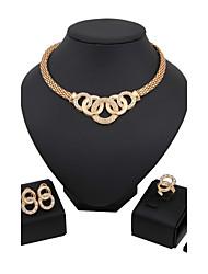 Conjunto de Jóias Luxo Vintage Fofo Festa Casual Corrente Fashion Chapeado Dourado Imitações de Diamante Liga Bracelete Colar Brincos