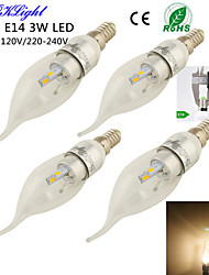 3W E14 Ampoules Bougies LED CA35 6 diodes électroluminescentes SMD 5730 Décorative Blanc Chaud 200-250lm 3000K AC 100-240 AC 110-130V