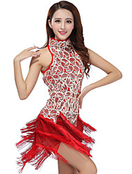 cheap -Latin Dance Dresses Women's Performance Polyester / Sequined Tassel Dress / Samba