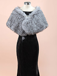cheap -Sleeveless Faux Fur Wedding / Party Evening Wedding  Wraps / Fur Wraps With Rhinestone Shawls