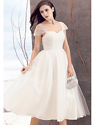 cheap -A-Line Queen Anne Tea Length Tulle Wedding Dress with Criss-Cross by LAN TING BRIDE®