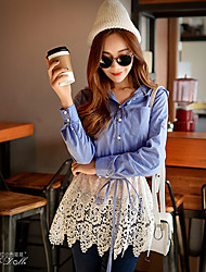 Pink Doll®Women's Patchwork Blue Shirt , Shirt Collar Long Sleeve Bodycon Blouse