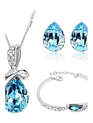 cheap -Women's Crystal Jewelry Set - Crystal Love Fashion Include Crystal Bracelet / Crystal Earrings / Crystal Jewelry Set Red / Green / Blue For Wedding / Party / Birthday / Crystal Necklace / Necklace