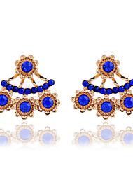 economico -Orecchini a goccia Cristallo Perla Resina Strass 18K oro imitazione diamante Lega Di tendenza Bianco Blu Azzurro chiaro Gioielli 2 pezzi