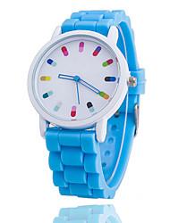 Недорогие -Жен. Повседневные часы Модные часы Кварцевый силиконовый Синий / Оранжевый / Зеленый Аналоговый Дамы - Зеленый Розовый Светло-синий