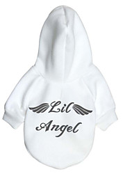 Dog Hoodie Dog Clothes Warm Fashion Letter & Number Angel White Red Costume For Pets