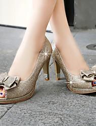 cheap -Women's Shoes Heel Heels / Peep Toe / Platform Sandals / Heels Wedding / Dress / Casual Black / Silver / Gold