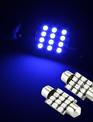 preiswerte -2 x blau 12 SMD LED Innenraum Kuppel Lampe Licht 36mm Girlande