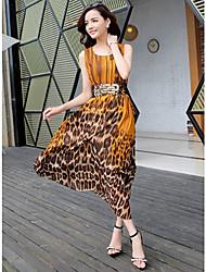 v krku leopard kontrastní dámské šaty (více barev)