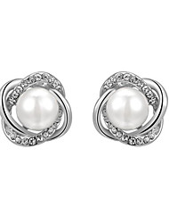 cheap -HKTC 18k White Gold Plated Jewelry with Austrian Crystal Simulated Pearl Flower Stud Earrings