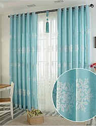cheap -Rod Pocket Grommet Top Tab Top Double Pleat Pencil Pleat Two Panels Curtain European , Embroidery Bedroom Linen / Cotton Blend Material
