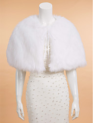 Wedding  Wraps Capelets Sleeveless Faux Fur Ivory Wedding Party/Evening Casual Scoop Lace-up
