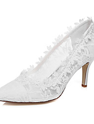 cheap -Women's Shoes Silk Spring Summer Comfort Stiletto Heel Round Toe for Wedding Dress Party & Evening White