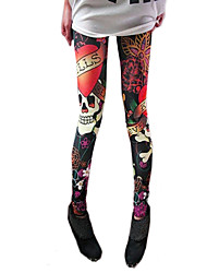 cheap -Women's Skull Print Elastic Leggings