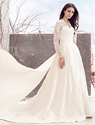 cheap -A-Line V Neck Chapel Train Lace Over Satin Custom Wedding Dresses with Lace by LAN TING BRIDE®