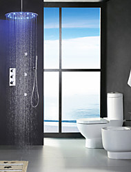 Contemporary Rain Shower Widespread Handshower Included Thermostatic LED Brass Valve Three Handles Nine Holes Chrome , Shower Faucet