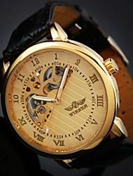 Недорогие -Мужской Наручные часы Механические часы Защита от влаги С гравировкой Механические, с ручным заводом Кожа Группа Черный Коричневый