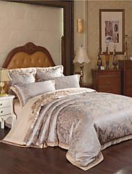 preiswerte -Bettbezug-Sets Blumen 4 Stück Baumwolle Jacquard Baumwolle 4-teilig (1 Bettbezug, 1 Bettlaken, 2 Kissenbezüge)